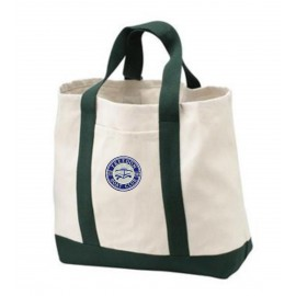 Port & Company® - 2-Tone Shopping Tote. B400. - Natural/Spruce