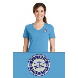 Port & Company® Ladies Essential Blended Performance V-Neck Tee. LPC381V. - Aquatic Blue