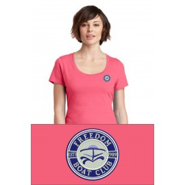 District Made® Ladies Perfect Weight® Scoop Tee. DM106L. - Coral